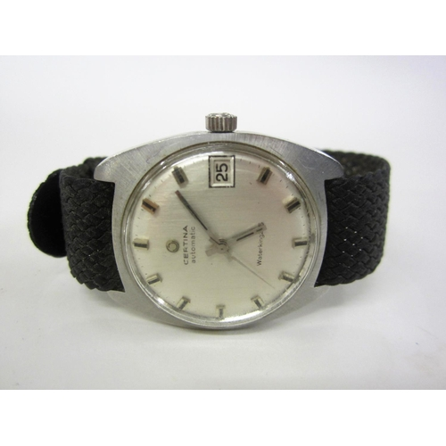 413 - Certina Automatic Gents Water King Wristwatch with sweep seconds hand, baton markers, date aperture,...
