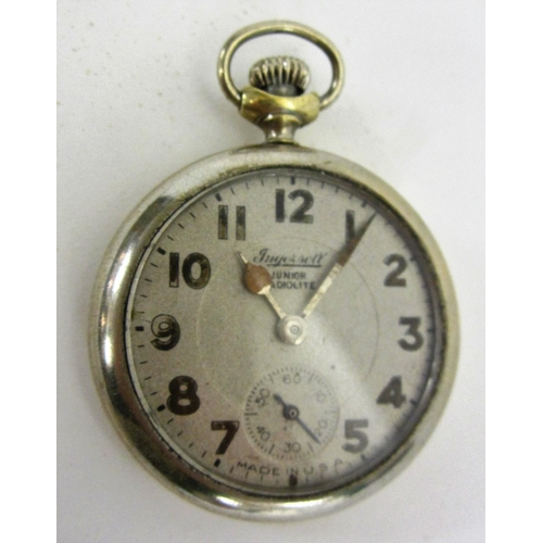 433 - Ingersoll Junior Radiolite Pocket Watch, Arabic Numerals, secondary seconds dial, Made in USA...