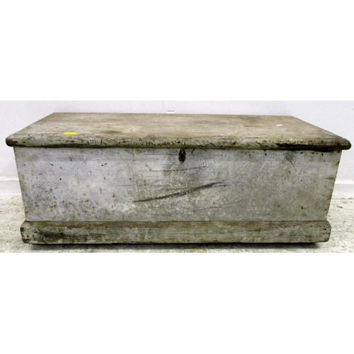 11A - C19th Painted Pine Trunk with hinged cover, on plinth base...