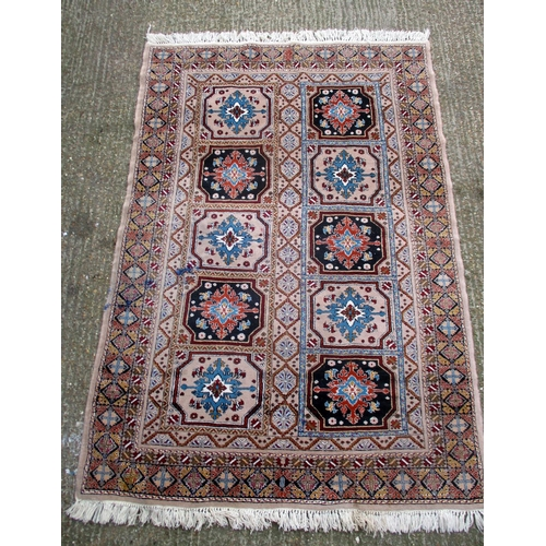 15A - Moroccan Rug labelled 'Extra Superior Quality' pink/grey ground with geometric motifs, tassel ends, ...