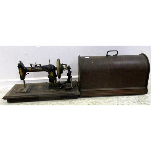 8A - Hand Sewing Machine with black enamelled & gilt body, in wooden case...