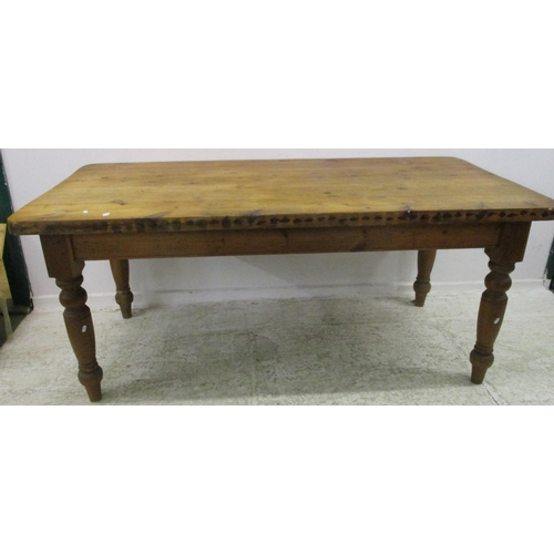 9A - Large Pine Refectory Table with detachable top, on turned supports. Approx. L72
