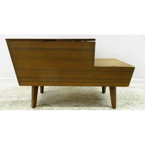 20A - 1970s Workbox with hinged cover (detached), internal sliding tray, drawers to sides...