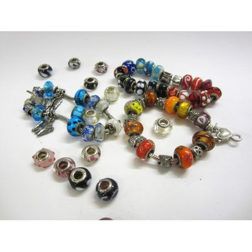 436 - Modern Costume Jewellery Charm Bracelets with glass bead/troll charms, most beads marked 925 not bel...