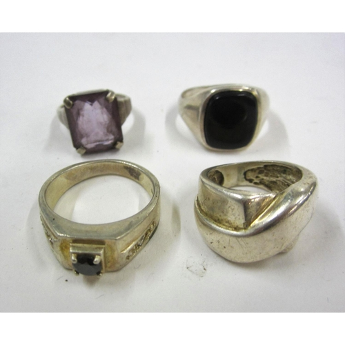 437 - Gents Silver Ring set black onyx, Ladies Silver Ring set rectangular facet cut lilac stone, Gents Si...