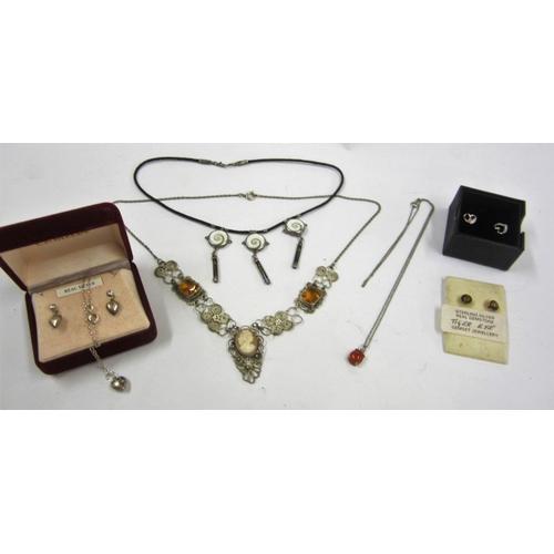 438 - Silver Heart Shaped Earrings, Silver Tigers Eye Earrings, Silver Heart Shaped Pendant & Earring Set,...