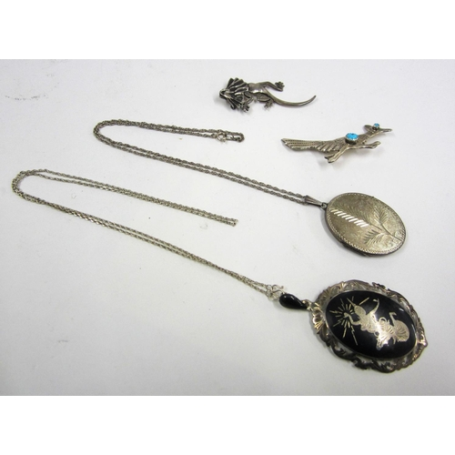 440 - Siam Silver Nielo Oval Pendant & Chain, Silver Set Turquoise Running Bird Brooch, Silver Lizard Broo...