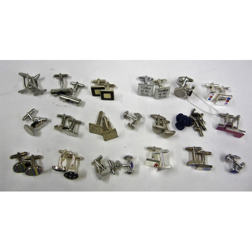 444 - 20 Pairs of Silver Tone Cufflinks incl. Father of teh Bride, Square, Circular, £, etc....