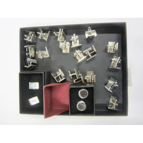 445 - 20 Pairs of Silver Tone Cufflinks incl. Boxed Atlas Editions, Multiples of Rectangular, etc....