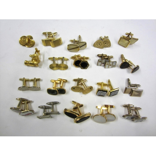 448 - 20 Pairs of Cufflinks incl. Mother of Pearl, square jewelled, triangular, green inset, vintage car, ...
