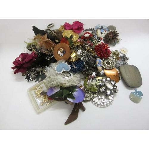 454 - Costume Jewellery Brooches, wooden, plastic, fabric, etc....