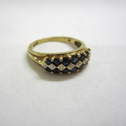 457 - Sapphire & Diamond Half Hoop Ring set 9ct. gold size P 1/2...