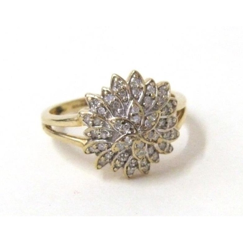 456 - 9ct Gold Diamond Cluster Ring with bifurcated shank, size P...