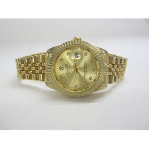 430 - Imitation Gents Rolex Oyster Perpetual Datejust Wristwatch with white stone set markers Gilt strap...