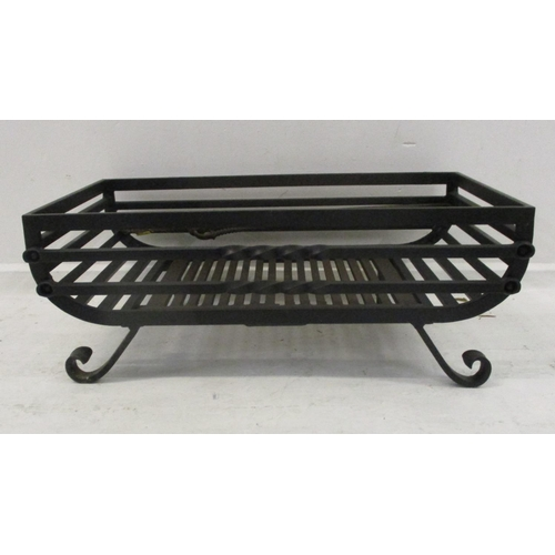 18A - Large Open Cast Iron Fire Grate with twin removable slotted holders, on front scrolling supports...