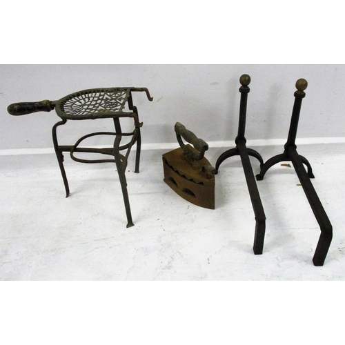 19A - Pair Wrought Iron Andirons, Pair Georgian Long Tongs, Tubular Implement, Heavy Box Iron with hinged ...