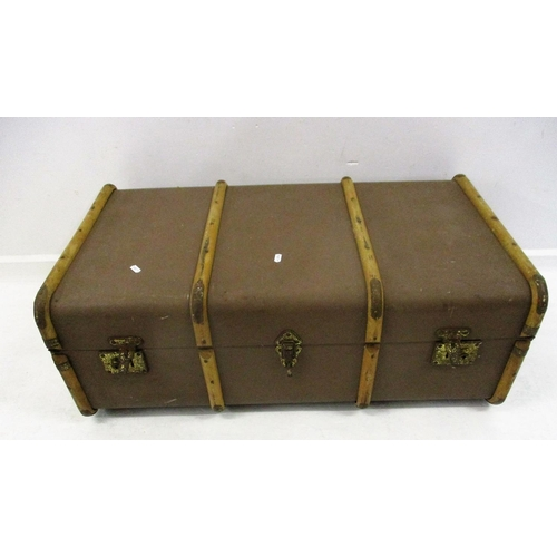 21A - Fabric Covered Travel/Storage Trunk with wooden hoops & metal reinforced corners...