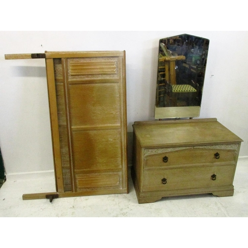 22 - Limed Oak Bedroom Suite: 2 door wardrobe, chest of 4 long drawers, double bed head & tailboard with ...