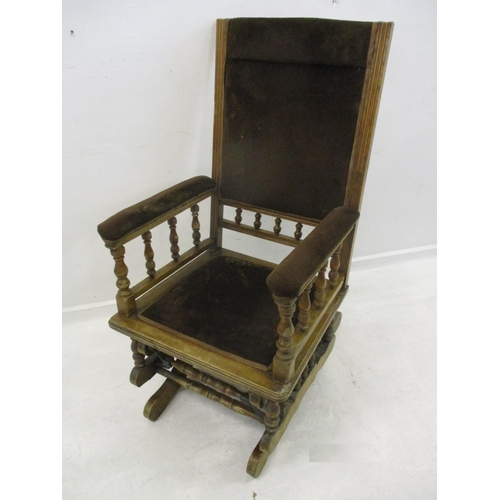 2A - American Style Rocking Chair on turned supports with galleried back, stuffed arm supports with galle...