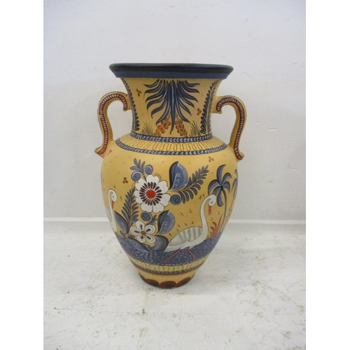 7A - Large Pottery Palace Urn decorated with birds, flowers & leaves (old repair)...