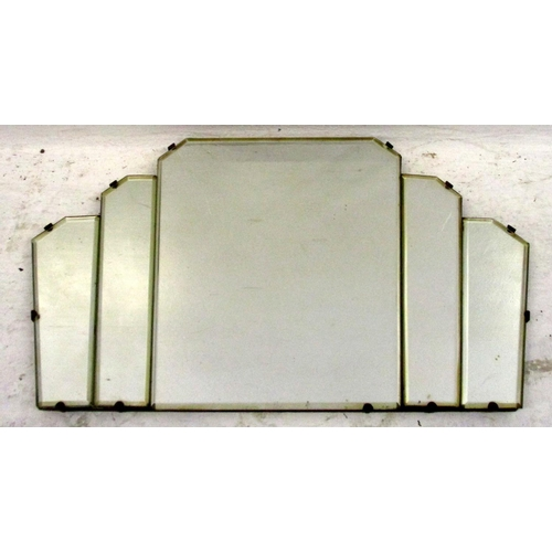 26A - Art Deco Style Staged Fan Shaped Bevelled Glass Unframed Wall Mirror...