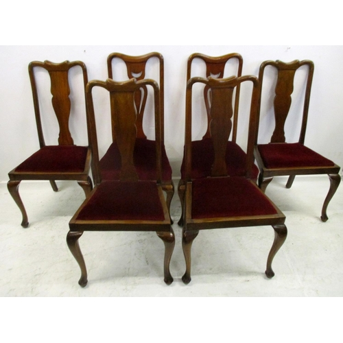 8 - 6 Queen Anne Style Edwardian Dining Chairs with drop-in, overstuffed seats, various styles (6)...