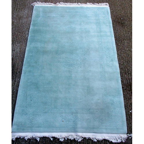 28A - Sculptured Chinese Celadon Green Carpet with original label, approx. 6' x 9'...