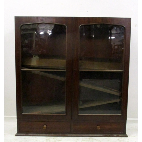 3A - C19th Mahogany 2 Door Bookcase with pair glazed doors, 2 drawers under...