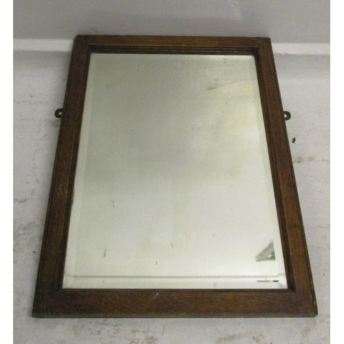 27A - Oak Framed Bevelled Glass Rectangular Wall Mirror...