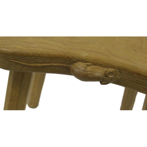 4 - Mouseman Carved Oak Stool on faceted tapering supports, saddle shaped seat, approx. 14.5
