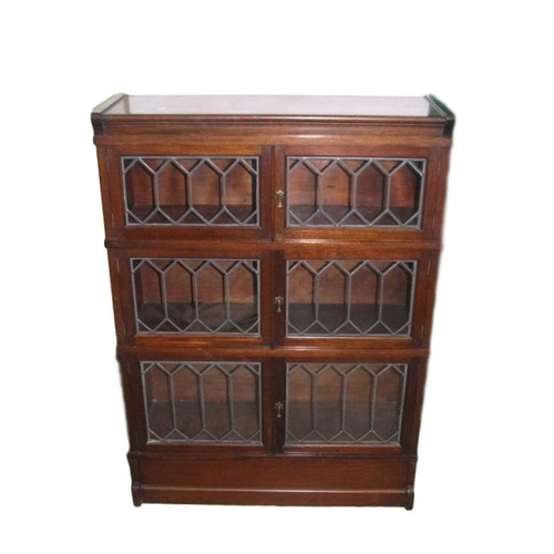 31 - Simpoles Chapter Globe Wernicke Style Bookcase with 3 sections, leaded light hinged doors with brass...