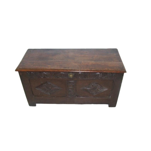42 - C18th Oak Coffer on short stile supports with hinged top, panelled sides, approx. 38