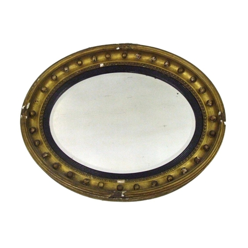 36 - Large Circular Bevelled Glass Mirror with ball decoration, ebonised reeded slip, approx. 30