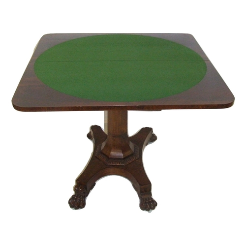 6 - C19th Rosewood Card Table on circular base, flip-over rectangular top, carved decorative frieze, on ...
