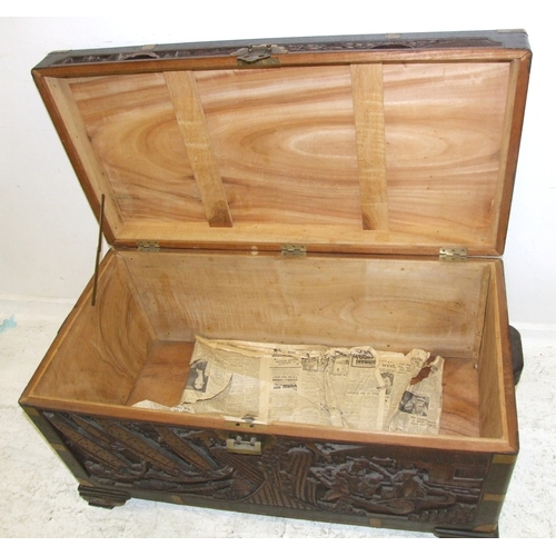 10 - Large Heavy Carved Chinese Camphorwood Chest, exterior with prunus, trees, rickshaws, buildings etc....