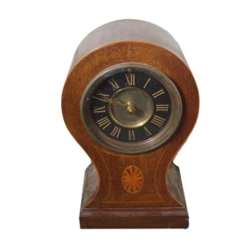 153 - C19th Mahogany Balloon Mantel Clock, boxwood strung, oval patera inlay, black chapter ring, gilt cen...