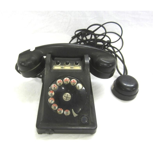 779 - Unusual Bakelite Telephone marked Etabliss ts Byrgunder No. 08853, 3 push buttons to top, earpiece &...