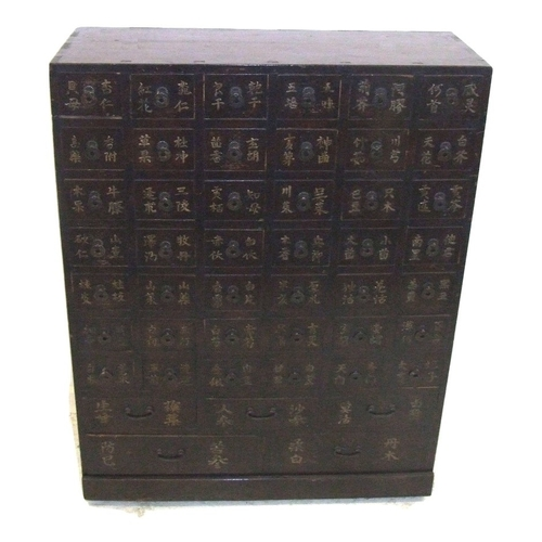 2 - C20th Korean Apothecary Cabinet with 42 small drawers & 5 long drawers, each with painted oriental s...