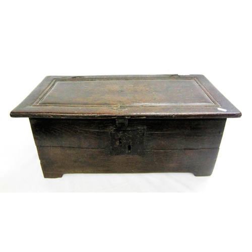 11 - Late C17th Oak Miniature Coffer with one piece lid, lock to front, single panelled sides & back, app...