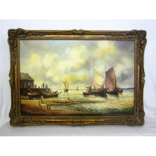 196 - Mid C20th Oil on Canvas Fishing Boats on shore with figures on quay, signed by Bernd Gagel, in swept...