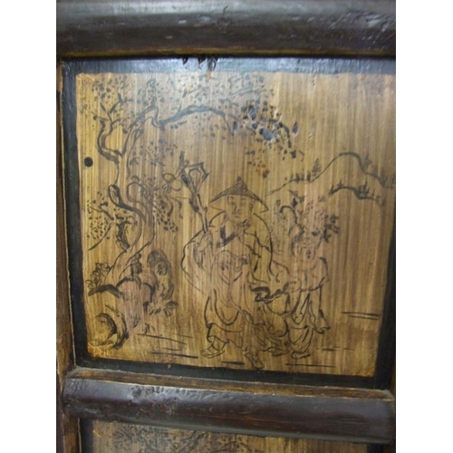 14 - Deep Coral Oriental Style Lacquered Wedding Cabinet with 2 central doors decorated with gilt warrior...