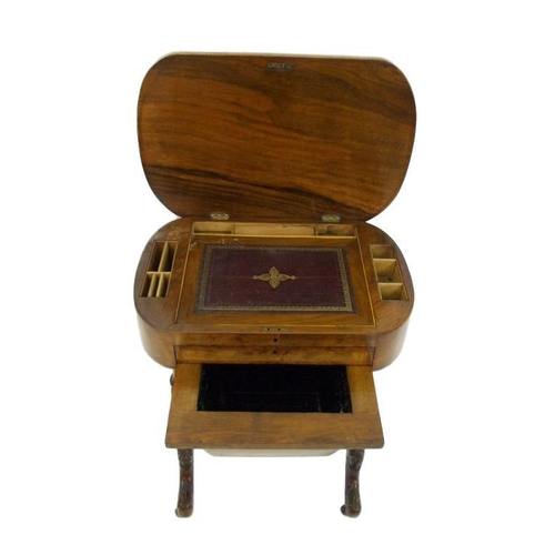 9 - Mid C19th Victorian Walnut Workbox/Writing Cabinet with hinged top inset with stationery compartment...