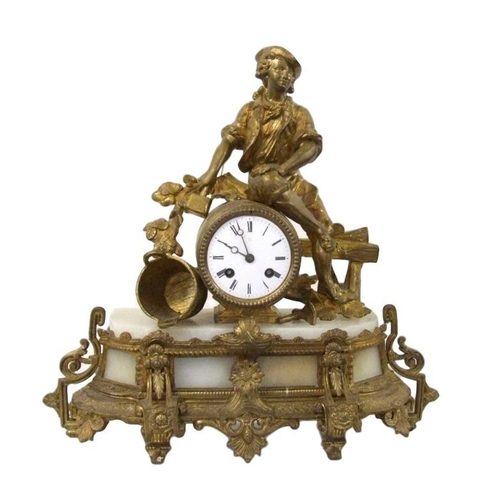 152 - Mid C19th Victorian Gilded Spelter Mantel Clock with French unnamed 2-train drum movement No. 163, s...