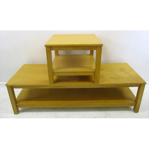 12 - Large Low Rectangular Blonde Wood Coffee Table on square section supports & Matching Small Square Ta...