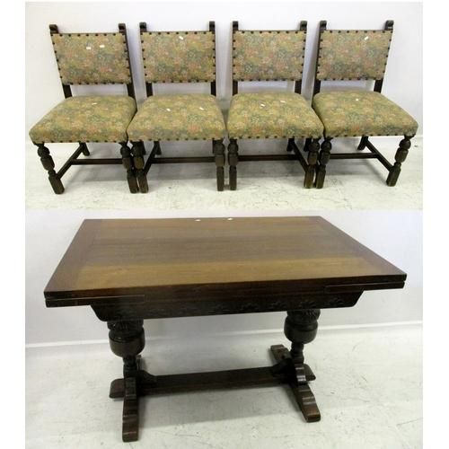 30A - Elizabethan Style Oak Draw Leaf Table with lunette carved frieze & Set 4 Low Back Dining Chairs on t...