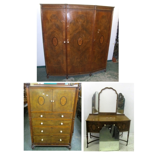 28 - Continental Style Marquetry Inlaid Bedroom Suite: Dressing table on shaped X stretchers, turned & ca...