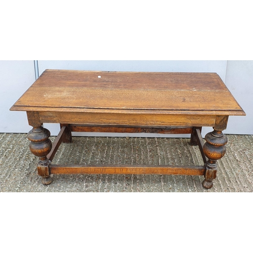 32 - Low Oak Coffee Table on bold turned supports with stretchers A1...