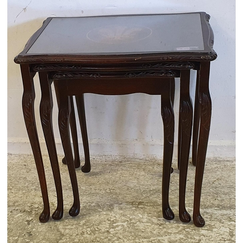 21 - Nest of 3 Mahogany Stained Stacking Occasional Tables on tall cabriole pad footed supports, largest ...