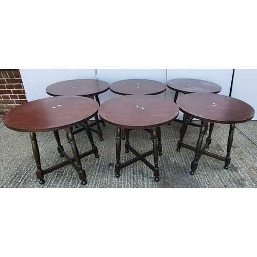 19 - 6 Wood Effect Circular Tables with Formica tops (6) (FWR/A14)...