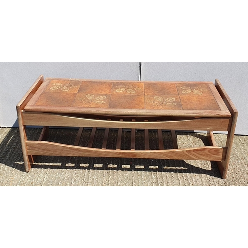 26 - Retro Coffee Table inlaid with 10 copper coloured tiles with leaf decoration, magazine rack under (A...